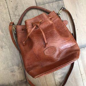 Vintage Oroton Leather Bucket Bag Crossbody Brown